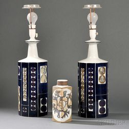 Pair of Royal Copenhagen Lamps and a Vase