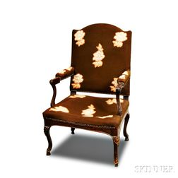 Louis XV-style Carved Oak Upholstered Fauteuil