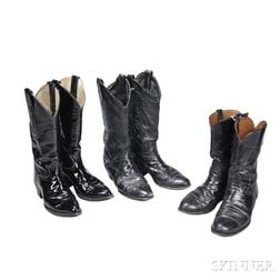 Little Jimmy Dickens     Three Pairs of Black Leather Cowboy Boots