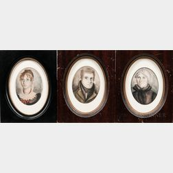 American School, 19th Century      Portraits of Charles Owen, Eunice Owen, and Laura Owen Bishop