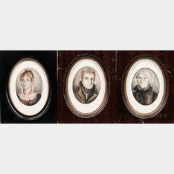 American School, 19th Century      Portraits of Charles Owen, Eunice Owen, and Laura Owen Bishop