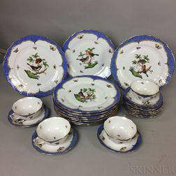 "Twenty-five Pieces of Herend ""Blue Rothschild Bird"" Porcelain Tableware.     Estimate $400-600"