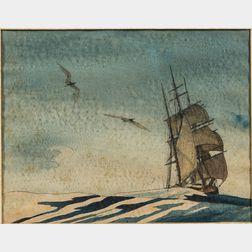 Attributed to Theodore Feininger (New York, 1910-2011)       Maritime Scene with Gulls