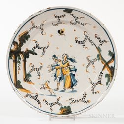 Polychrome Decorated Delft Plate