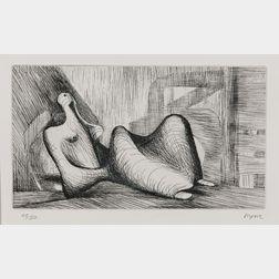 Henry Moore (British, 1898-1986)      Reclining Figure Piranesi Background I