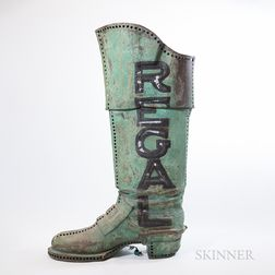 """Molded Sheet Copper """"Regal"""" Boot Trade Sign"""