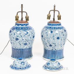 Two Pairs of Covered Jars Mounted as Lamps