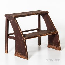 Red/brown-painted Pine Two-step Stool