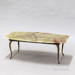 Green Onyx and Brass Low Table
