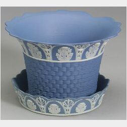 Assembled Wedgwood Solid Blue Jasper Jardiniere and Stand