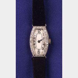 Art Deco Platinum and Diamond Wristwatch
