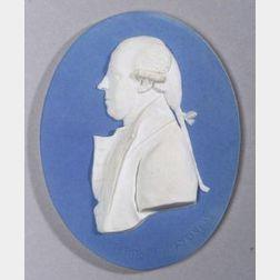 Wedgwood Pale Blue Jasper Dip Oval Portrait Medallion of Charles Jenkinson