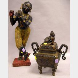 Japanese Bronze Incense Burner and an Asian Painted Stone Figure.