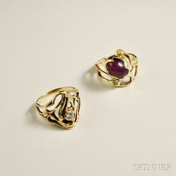 Two Clifford Hansen 14kt Gold and Diamond Rings