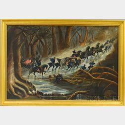 19th Century American School Oil on Canvas Scene Depicting a Union Army Winter   March