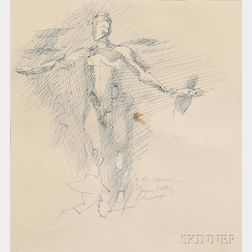 Jacques Villon (French, 1875-1963)      Figure Sketch with Arms Outstretched