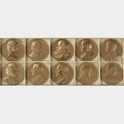Ten U.S. Mint Bronze Commemorative Presidential Medals