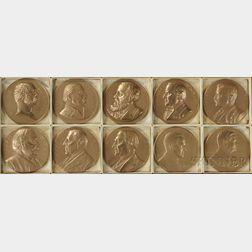 Ten U.S. Mint Bronze Commemorative Presidential Medals