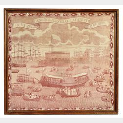 """""""A VIEW of the LANDING of GENERAL LAFAYETTE at NEW YORK Augt 1824"""" Commemorative Kerchief"""