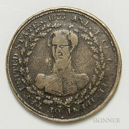 1833 Andrew Jackson Hard Times Token or Campaign Token.     Estimate $40-60