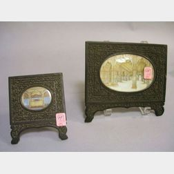 Two Indian Carved Hardwood Framed Miniature Painted Interior Scenes on Ivory