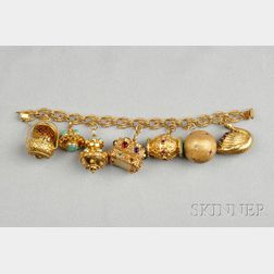 18kt Gold Gem-set Charm Bracelet