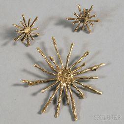 Steig 14kt Gold Splatter Brooch and Earrings