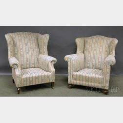 Crewel-style Upholstered Sofa and Two Chippendale-style Upholstered Wing Chairs.