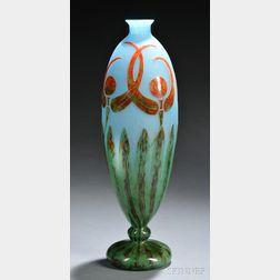 Le Verre Francais Libellules Cameo Glass Vase