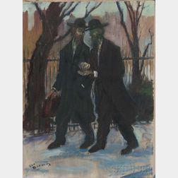 Louis Burnett (American, 1907-1999)      Two Orthodox Jews