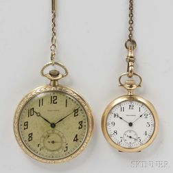 Two Waltham 14kt Gold Open-face Watches
