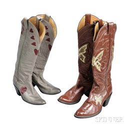 Two Pairs of Women's Leather Cowboy Boots