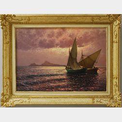 Guido Odierna (Italian, 1913-1991)      Ships in Setting Sun.