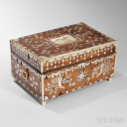 Bone and Mother-of-pearl Inlaid and Scrimshaw-decorated Box