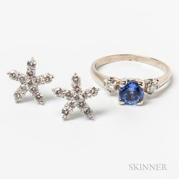 Platinum and Diamond Floral Earstuds and a 14kt White Gold, Tanzanite, and Diamond Ring
