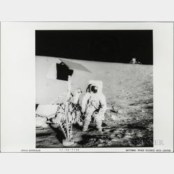 Apollo 12, Three Black-and-white Photographs Showing Astronaut Activity on the Moon.