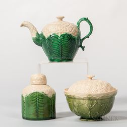 Three Staffordshire Cauliflower-decorated Creamware Tea Wares