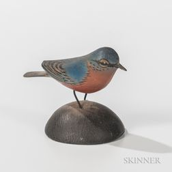 Elmer Crowell Carved and Painted Miniature Bluebird