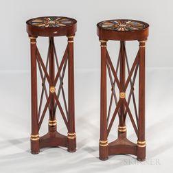 Pair of Neoclassical Mahogany and Mahogany-veneered Specimen-topped Tripod Pedestals