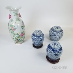 Three Chinese Blue and White Porcelain Ginger Jars and a Famille Rose Vase