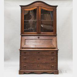 Victorian Glazed Walnut Slant-lid Desk/Bookcase