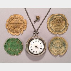 Rare Early Silver Pair Cased Pocket Watch and Ten Early Watchmaker's Labels
