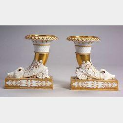 Pair of Paris Porcelain Parcel Gilt Cornucopia Mantel Vases