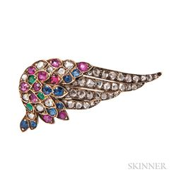 Antique Gold Gem-set Wing Brooch