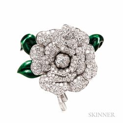 Platinum, Diamond, and Enamel Gardenia Clip Brooch