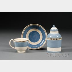 Mochaware Engine-turned Tea Canister and Matching Cup and Saucer