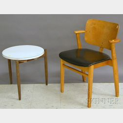 Modern Blondewood Armchair with Upholstered Seat and a Jens Risom Formica and Teak   Stand
