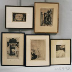 Five Framed Etchings: Winfield Scott Clime (American, 1881-1958), Edge of the Field; David Young Cameron (British, 1865-1945), A Gatewa
