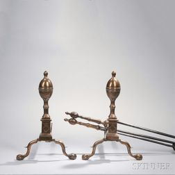 Pair of Engraved Bell Metal Lemon-top Andirons and Matching Tools