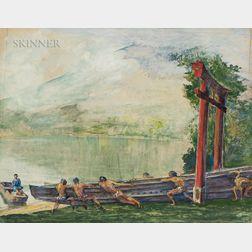 John La Farge (American, 1835-1910)      A Torii on Lake Chuzenji, Japan